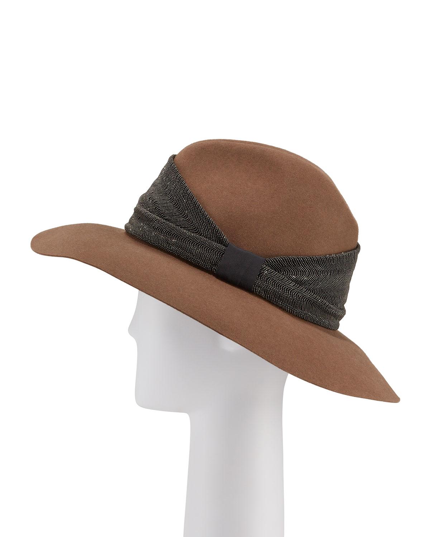 Brunello Cucinelli Hats CASHMERE MONILI-BEADED FEDORA HAT