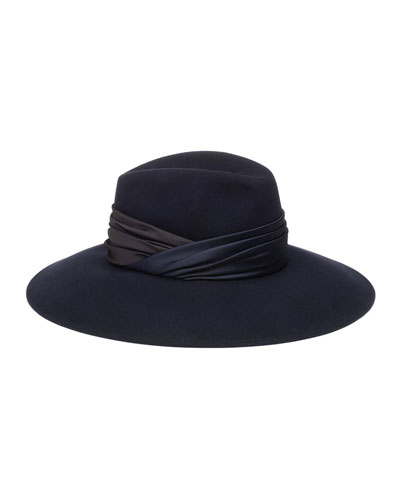 Emmanuelle Wool Fedora Hat w/ Ruched Hat Band