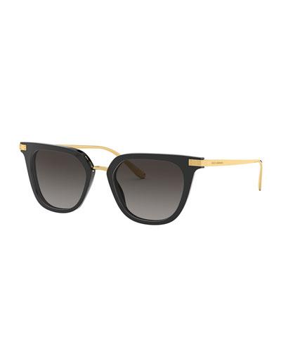 Metal & Acetate Rectangle Sunglasses