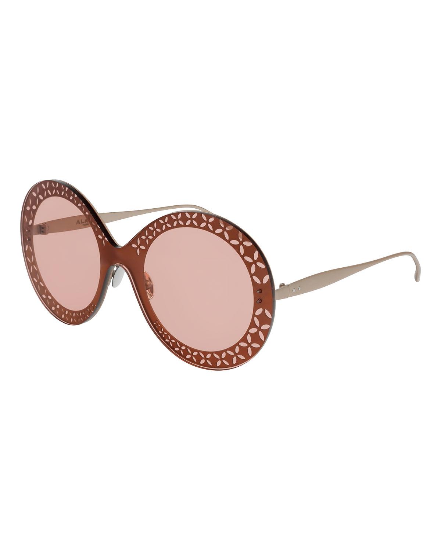 Alaïa Sunglasses PERFORATED METAL ROUND SHIELD SUNGLASSES