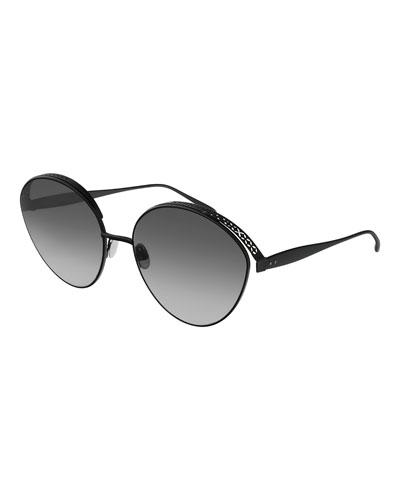 Perforated Metal Round Sunglasses