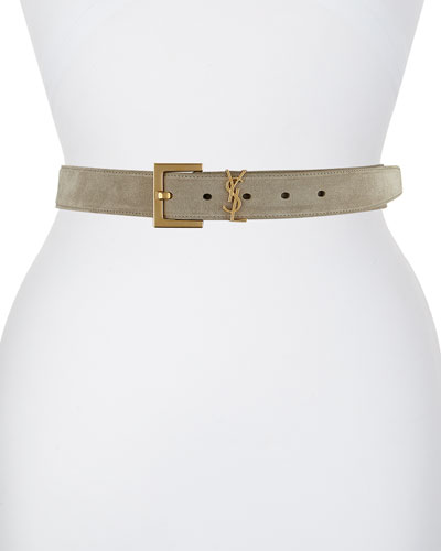 YSL Monogram Suede Belt