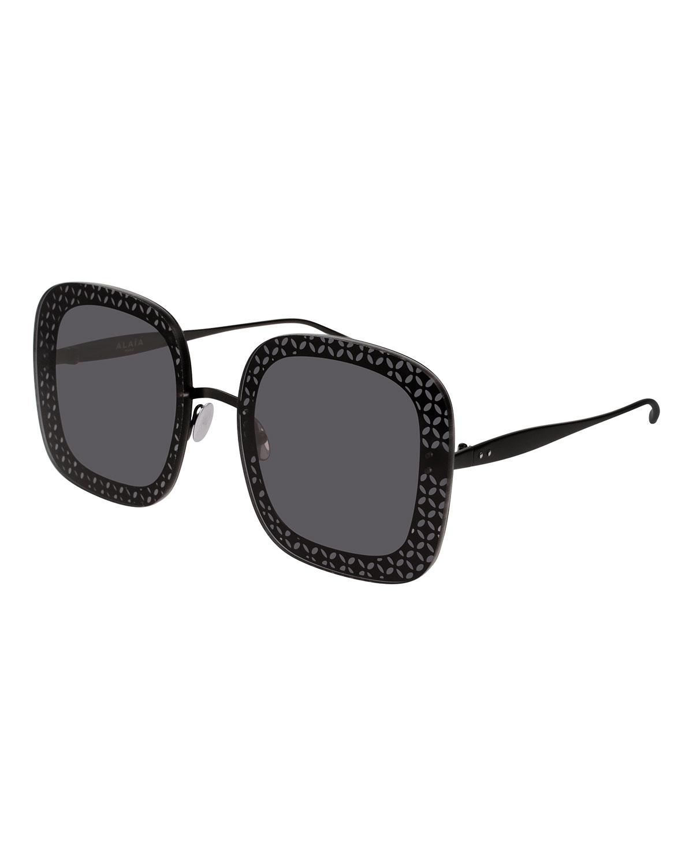 Alaïa Sunglasses PERFORATED METAL SQUARE SUNGLASSES