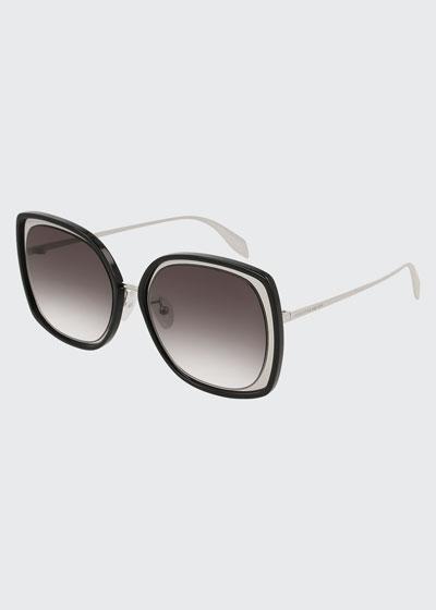 Oversized Square Acetate/Metal Sunglasses