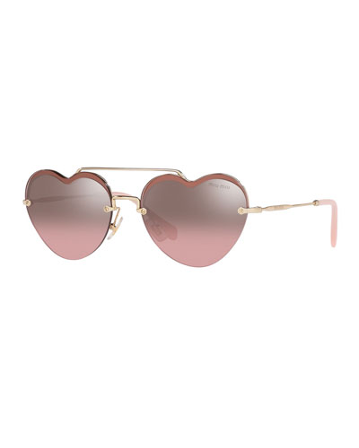 3f2446e8e6b5 Heart-Shaped Mirrored Sunglasses Quick Look. Miu Miu