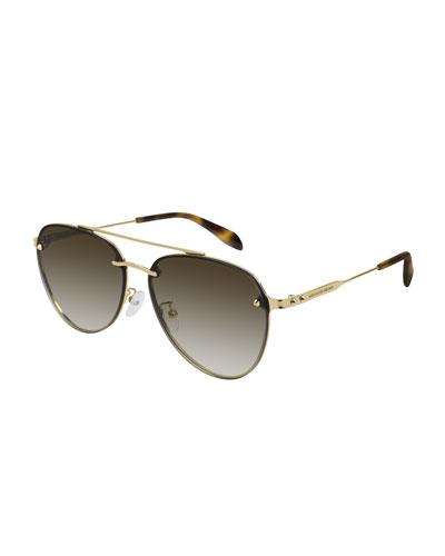 Metal Aviator Sunglasses w/ Cone Stud Details