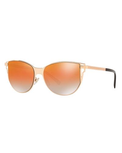 Mirrored Cat-Eye Sunglasses w/ Greek Key Arms