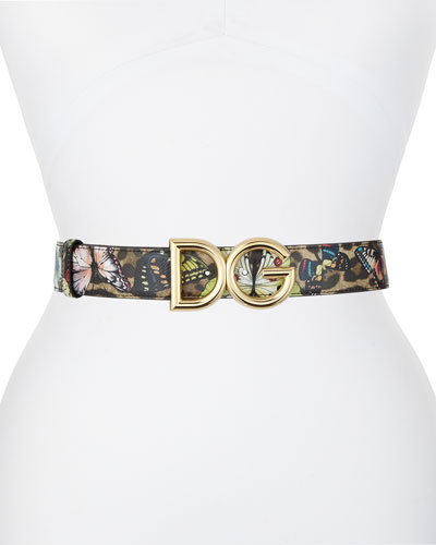 Interno Butterfly-Print Reversible Leather Belt w/ Logo Buckle