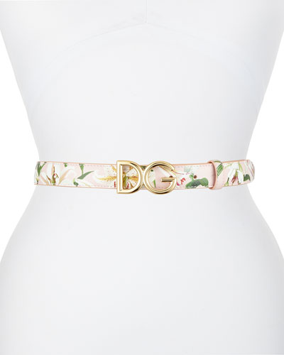 Lily Print Leather Belt