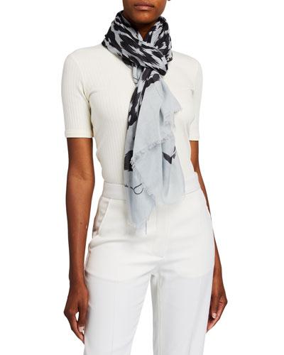 Leopard-Print Cotton Cashmere Scarf