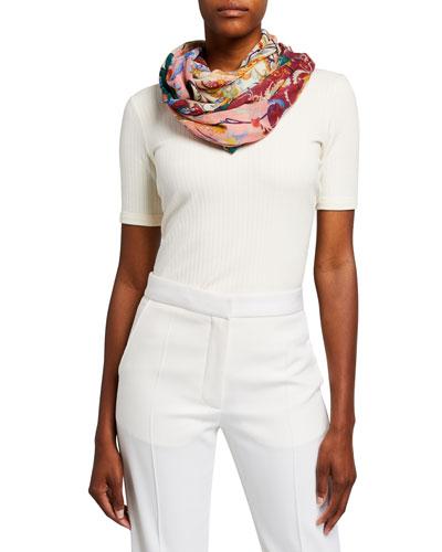 Floral-Print Cotton Cashmere Scarf