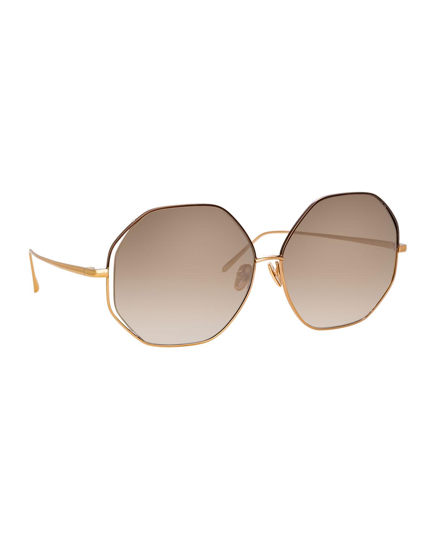 Linda Farrow Sunglasses OCTAGONAL TITANIUM SUNGLASSES