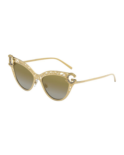 Metal Scroll Mirrored Cat-Eye Sunglasses