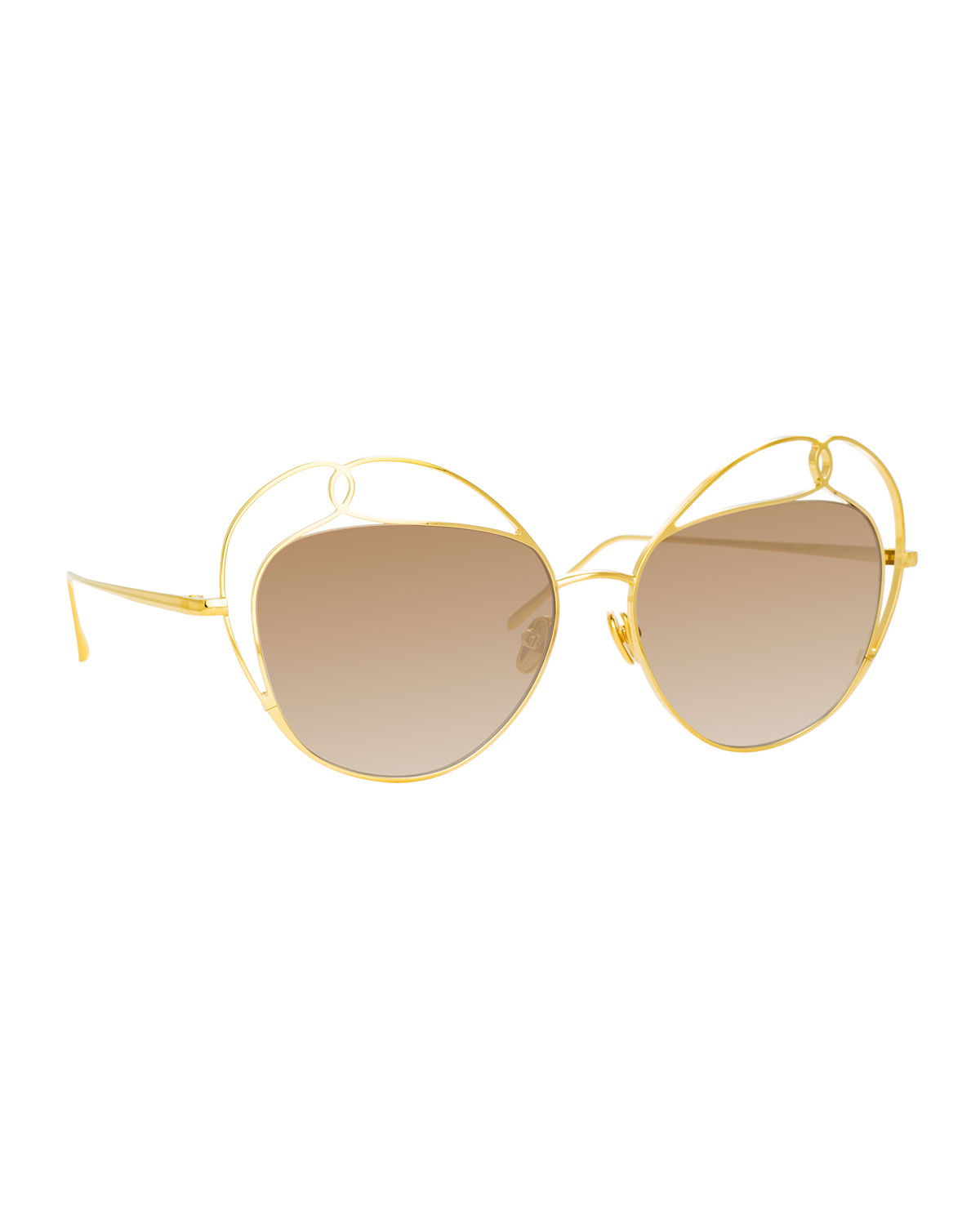 Linda Farrow Sunglasses CUTOUT AVIATOR SUNGLASSES