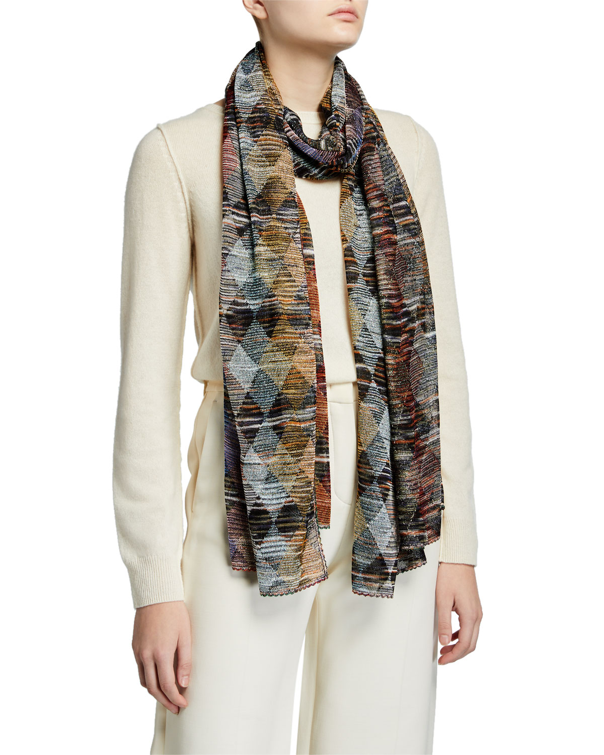 Missoni Accessories MULTICOLORED DIAMOND KNIT LUREX WRAP