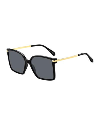 Square Propionate & Metal Sunglasses