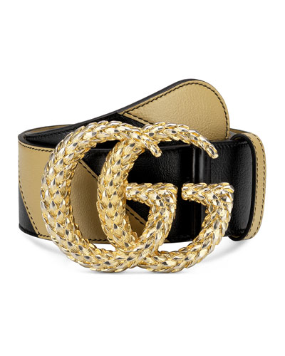Two-Tone Diagonal Quilted Leather Belt w/ Textured Double G Buckle
