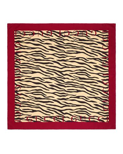 Tiger Striped Print Silk Swill Scarf