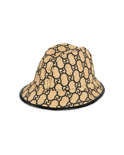 Raffia Interlocking G Embroidered Fedora Hat