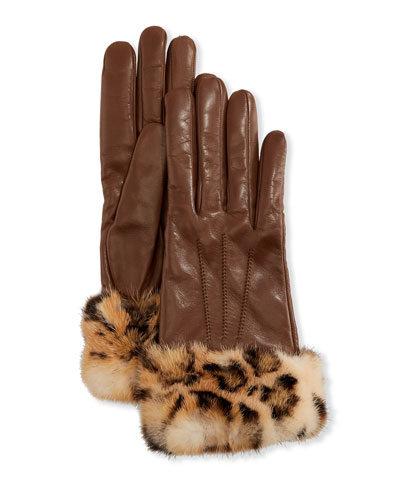 Cashmere-Lined Leather Gloves w/ Mink Fur Cuffs