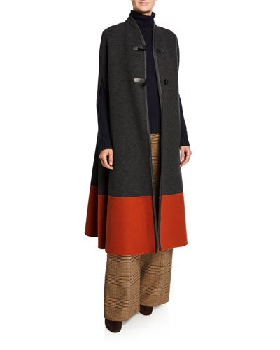Cashmere Colorblock Cape with Leather Latch-Front