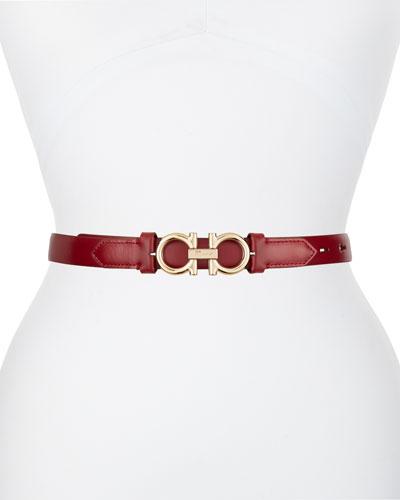 Gancini-Buckle Leather Rolo Belt