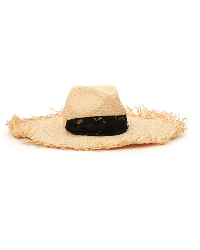 Raffia Frayed Large Brim Hat w/ Lace Trim