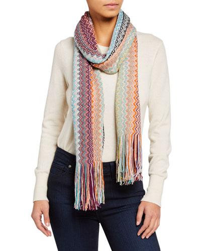 Multicolor Zigzag Stripe Wool-Blend Scarf