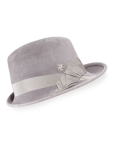 Side Sweep Wool Felt Fedora Hat