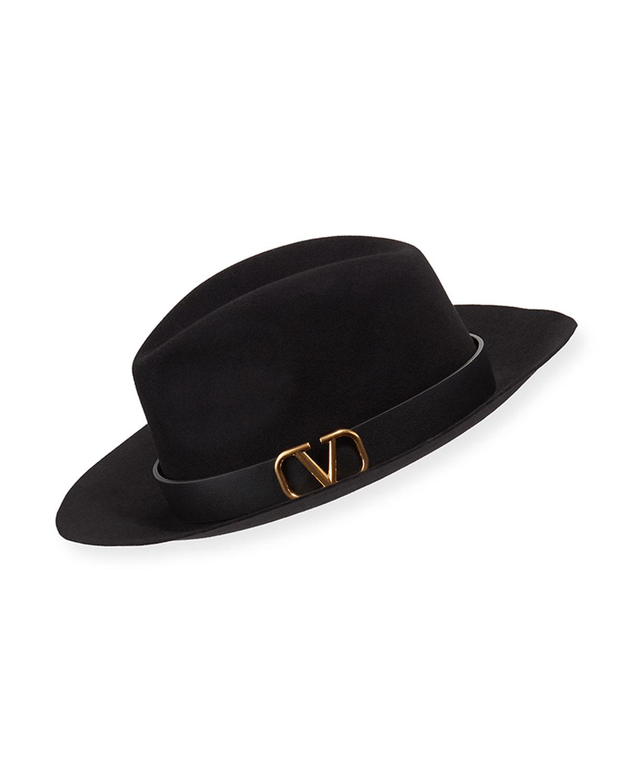 Valentino Hats VLOGO RABBIT FELT FEDORA HAT
