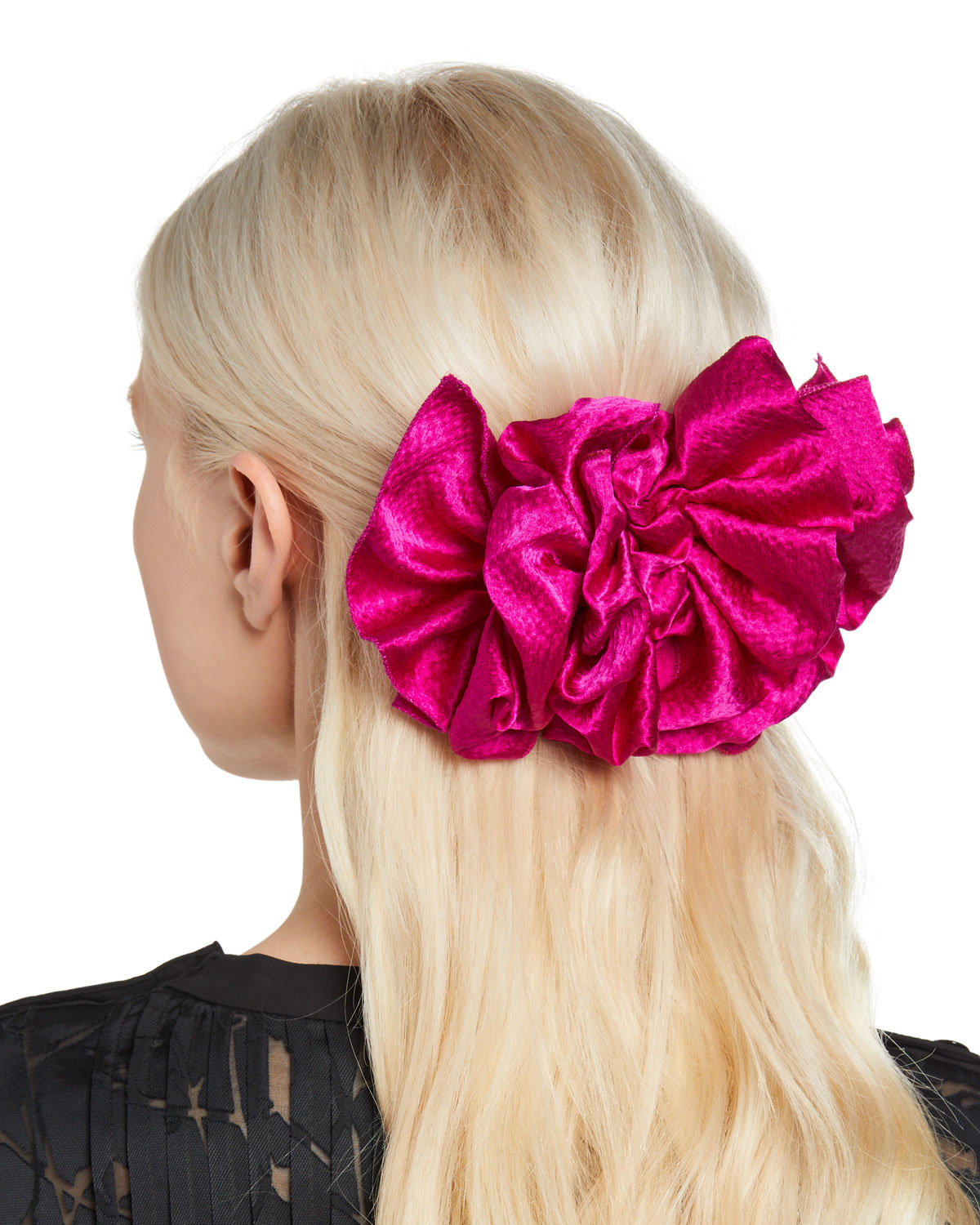 Jennifer Behr Accessories RUFFLE SILK SATIN BARRETTE