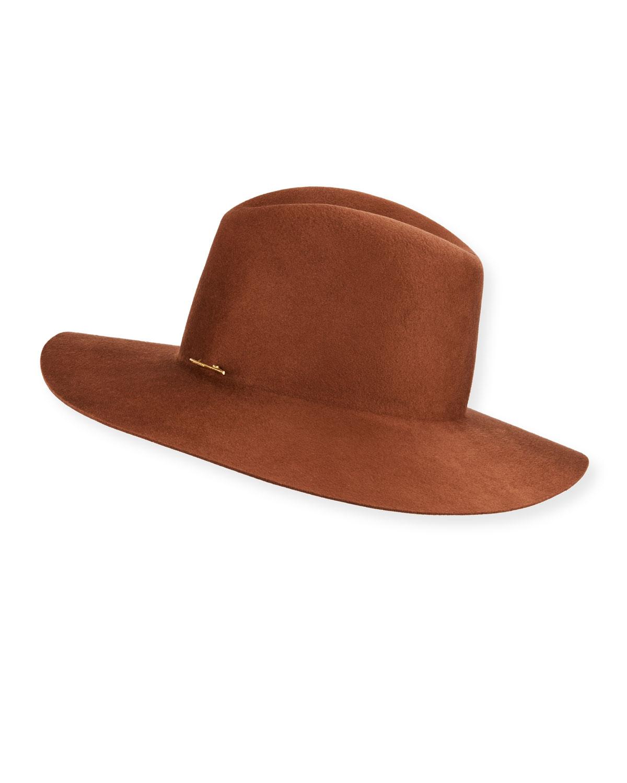 Janessa Leone Hats CADEN WOOL FEDORA HAT W/ LOGO PIN