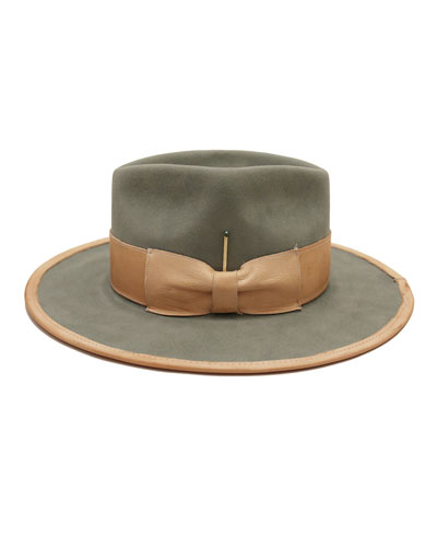 Marlin Beaver Felt Fedora Hat w/ Leather Trim