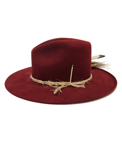 Scarlett Beaver Felt Fedora Hat w/ Feather Trim