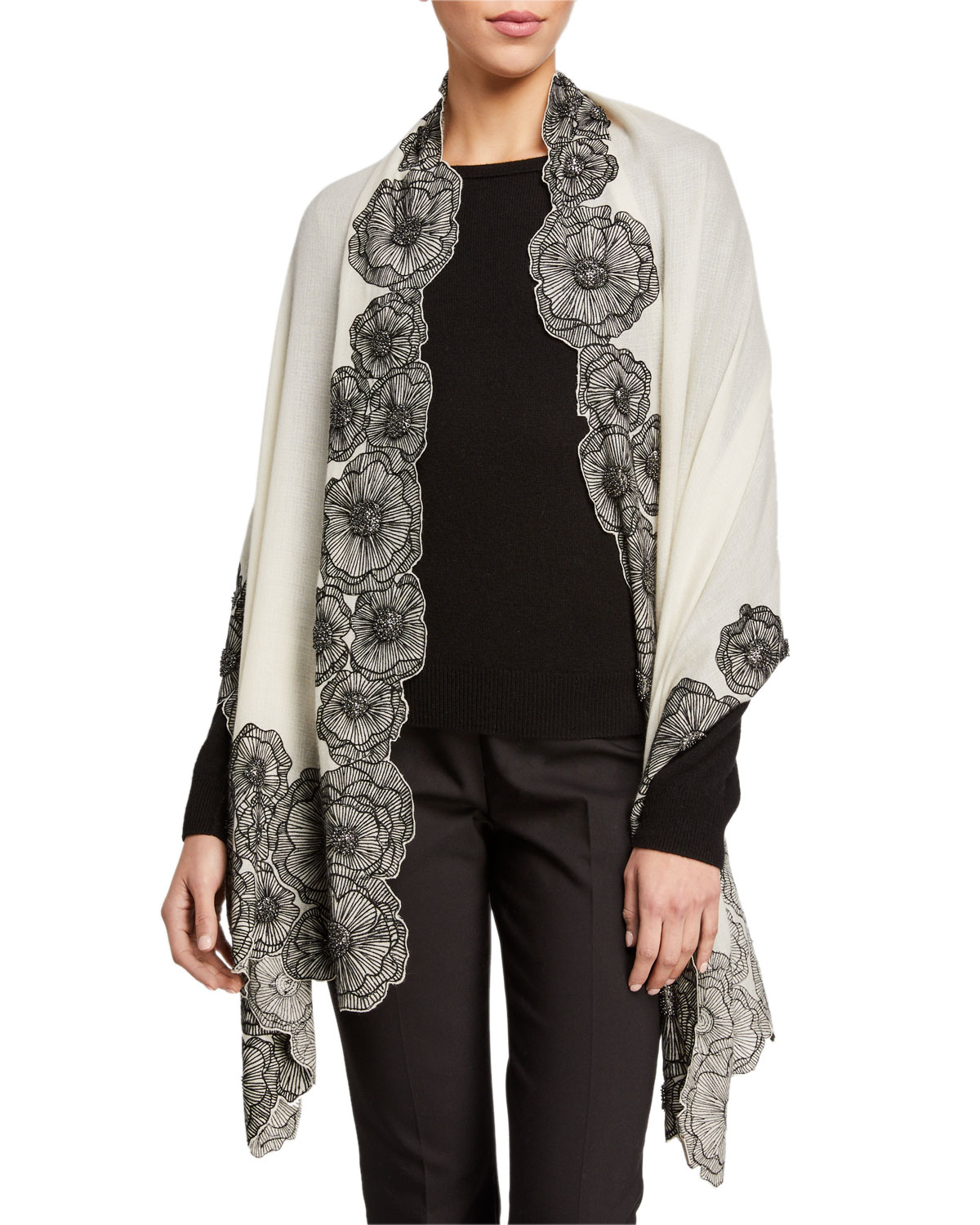 K Janavi Floral Cut Border Cashmere Scarf In Ivory