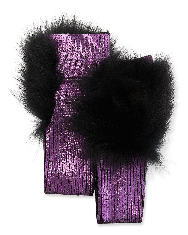 Jocelyn Gloves METALLIC FINGERLESS GLOVES W/ FOX FUR TRIM