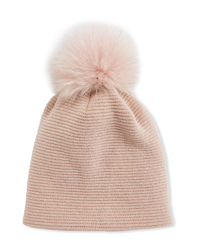 Merino Wool-Blend Knit Beanie Hat w/ Fox Fur Pompom