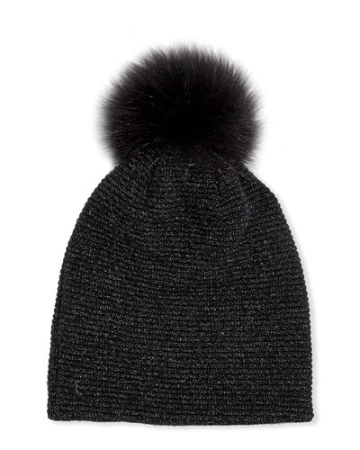 Merino Wool-Blend Metallic Knit Beanie Hat w/ Fox Fur Pompom