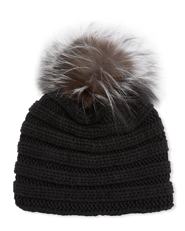 Inverni Hats KNIT CASHMERE BEANIE HAT W/ FOX FUR POMPOM