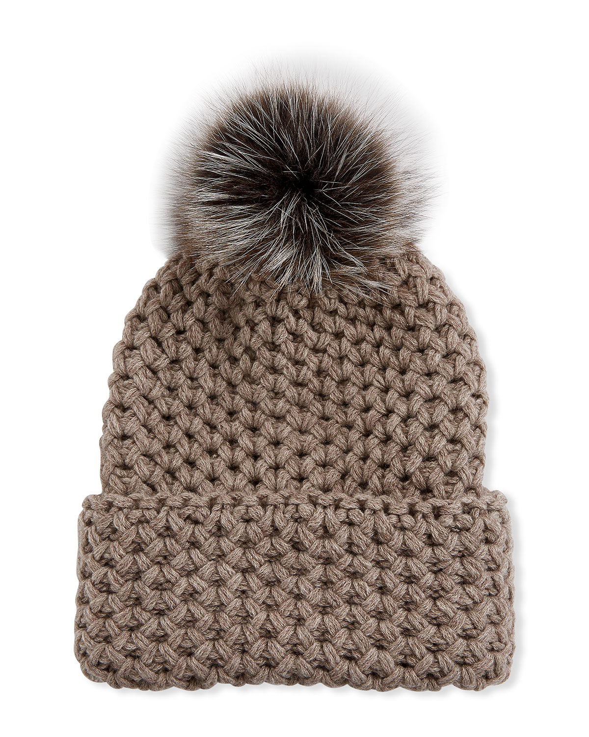 Inverni Hats HONEYCOMB CASHMERE ROLLED BEANIE HAT W/ FOX FUR POMPOM