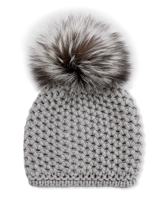 Inverni Hats HONEYCOMB CASHMERE BEANIE HAT W/ FOX FUR POMPOM