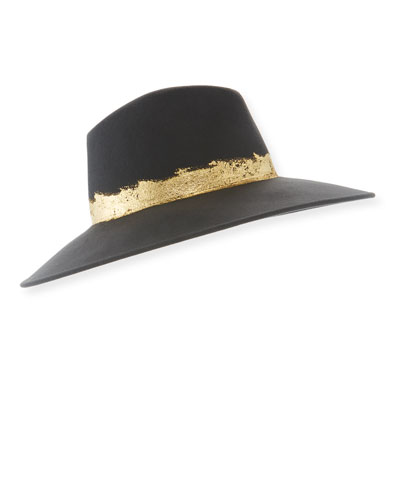 Emmanuelle Wool Fedora Hat with Metallic Band