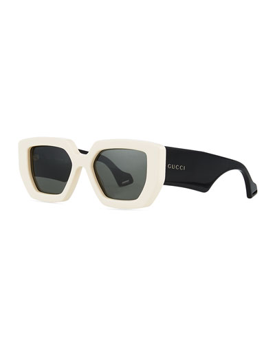 Two-Tone Acetate Oversized Cat-Eye Sunglasses