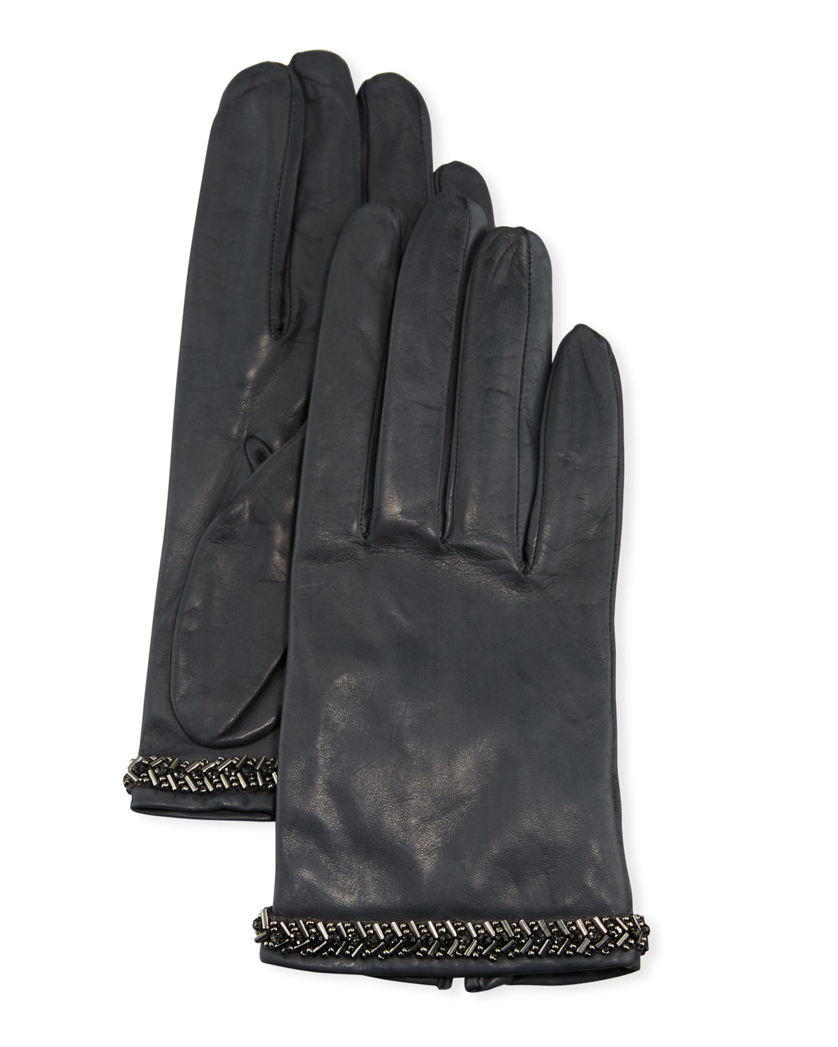 Portolano Gloves NAPA LEATHER SILK-LINED GLOVES W/ BEADED CUFFS