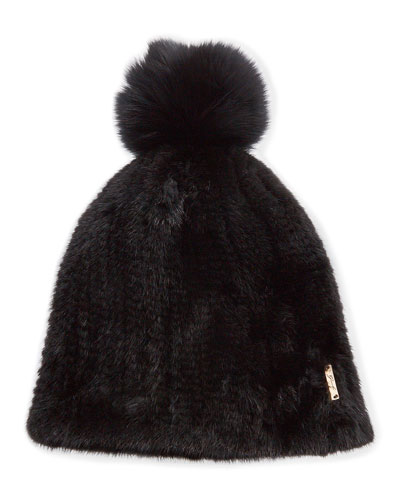 Knit Mink Fur Beanie Hat w/ Fox Fur Pompom