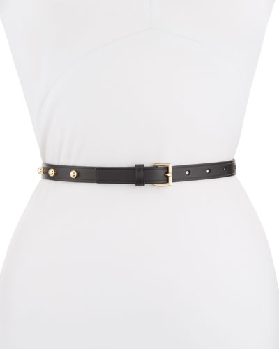 Studded Leather Thin Belt