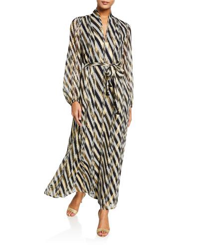 Solana Golden-Threaded Silk Kimono
