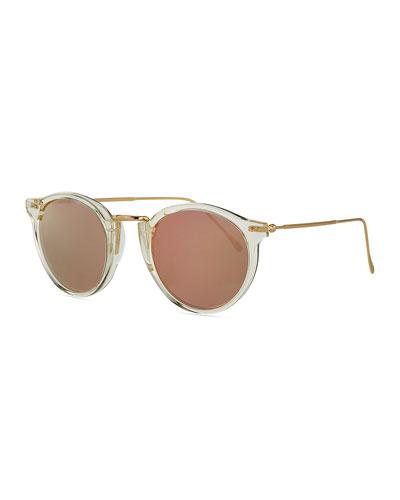 Round Mirrored Metal & Acetate Sunglasses