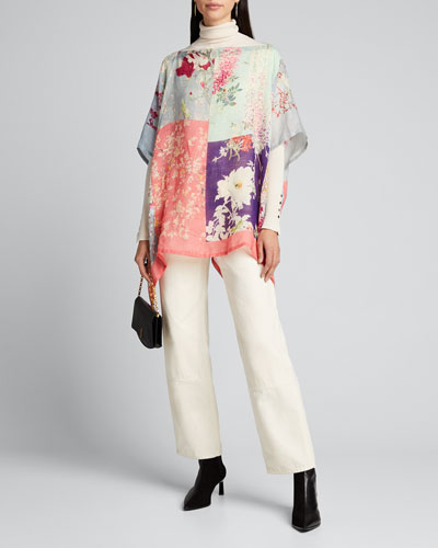 Orchid Patchwork Print Poncho