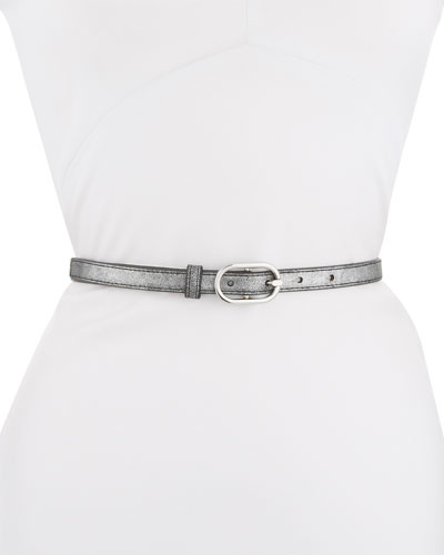 Leather Belt with Oval-Buckle